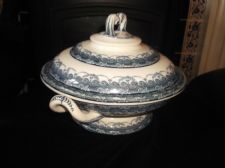 ANTIQUE GREY BLUE TRANSFER FOOTED TUREEN & LID No120 ORNATE HANDLES
